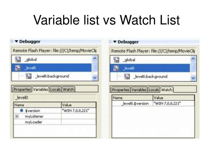 Variable list vs Watch List