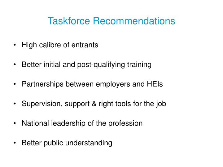 Taskforce recommendations