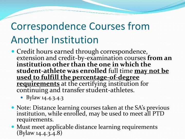 Correspondence Courses from Another Institution