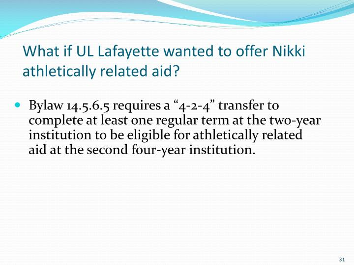 What if UL Lafayette wanted to offer Nikki athletically related aid?