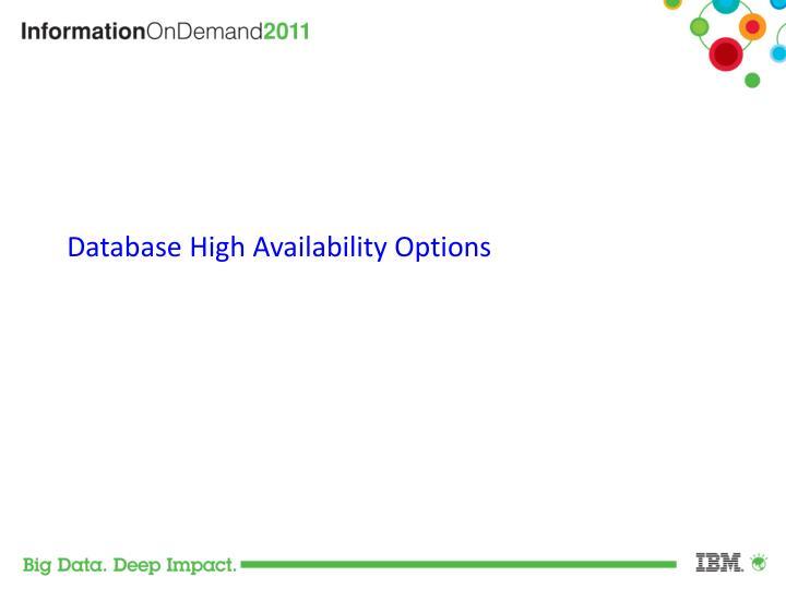Database High Availability Options