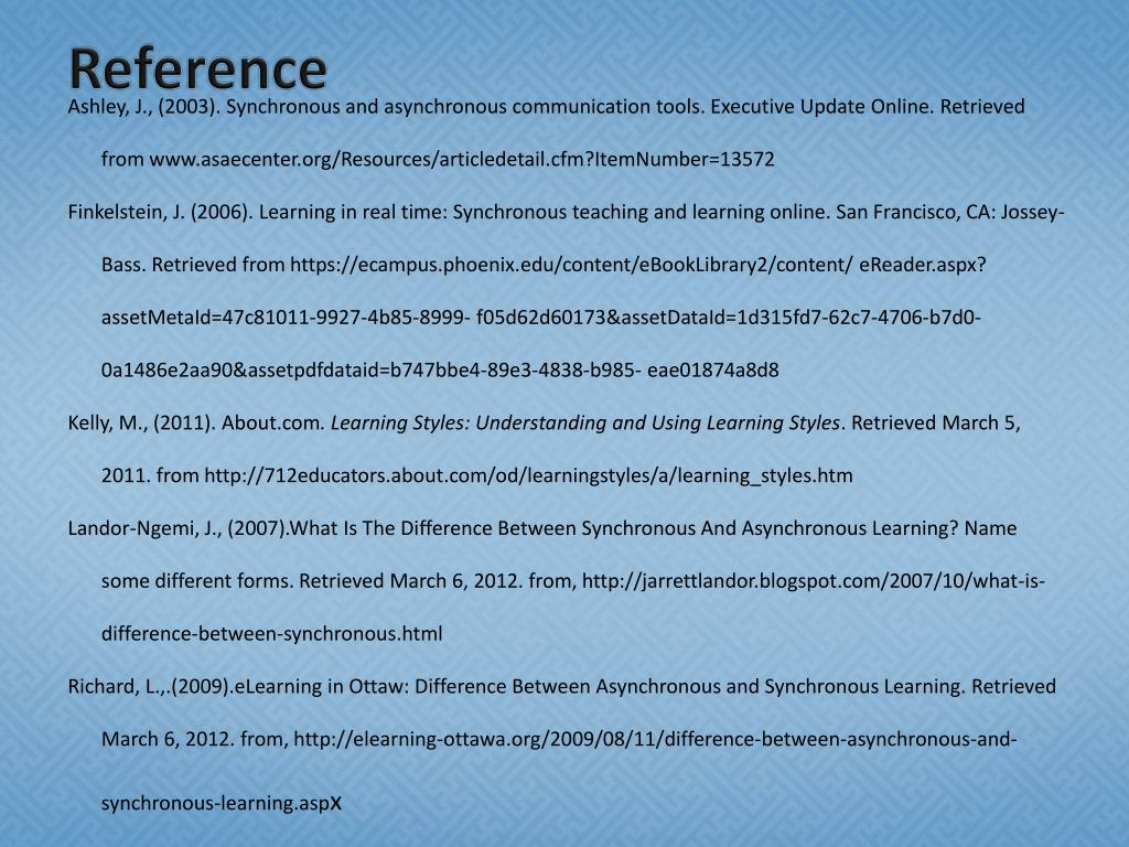 PPT - Comparing Synchronous & Asynchronous Learning