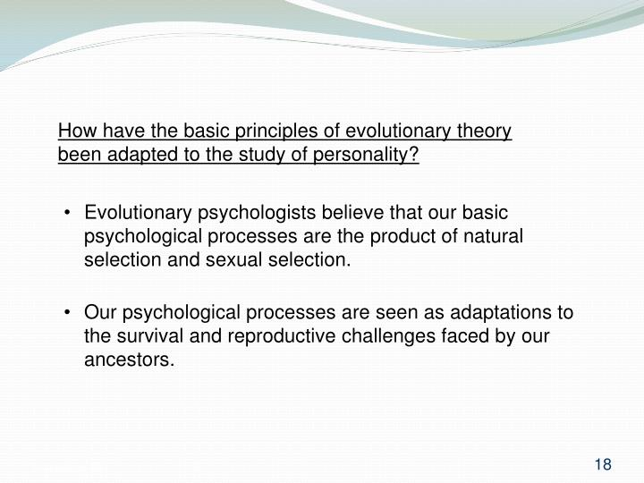 How have the basic principles of evolutionary theory been adapted to the study of personality?