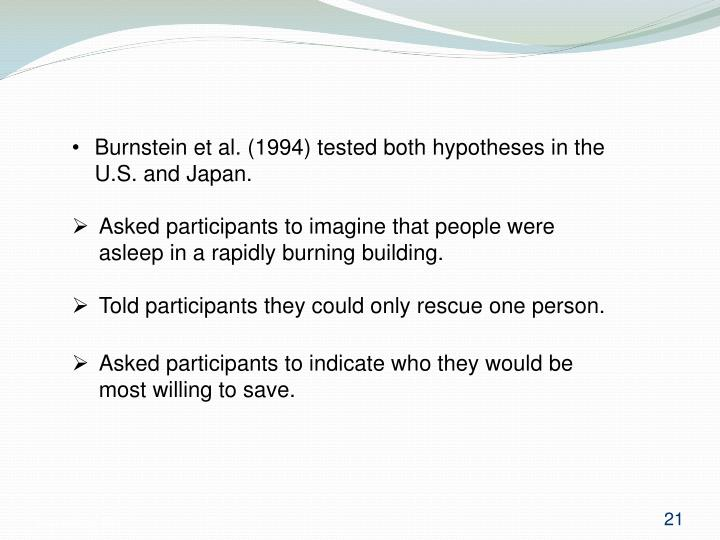 Burnstein et al. (1994) tested both hypotheses in the U.S. and Japan.