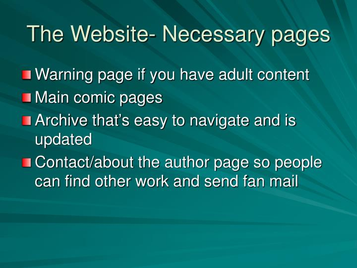 The Website- Necessary pages