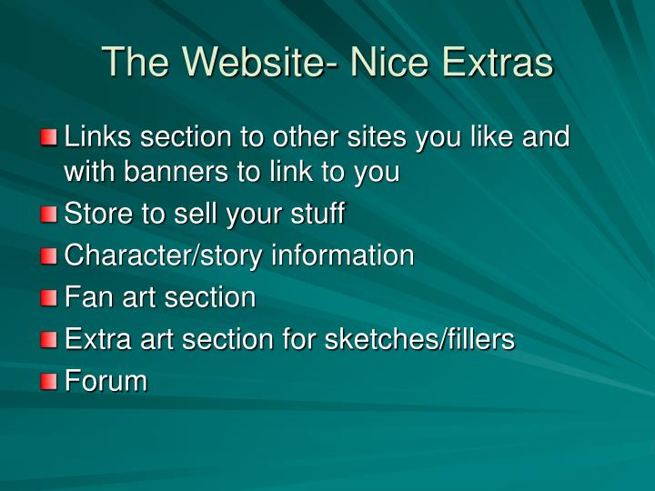 The Website- Nice Extras