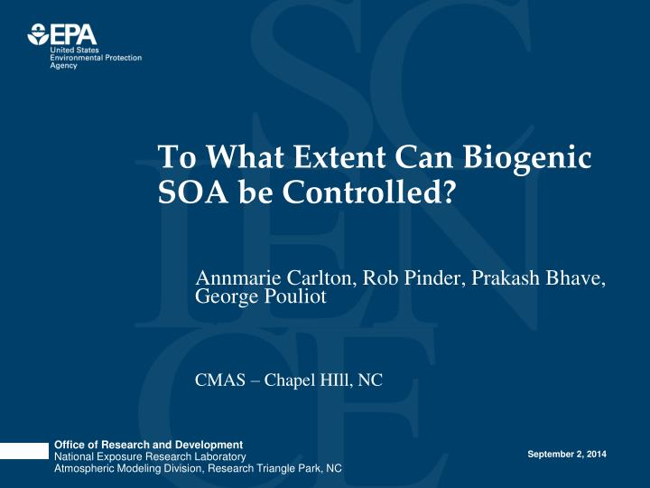 to what extent can biogenic soa be controlled n.