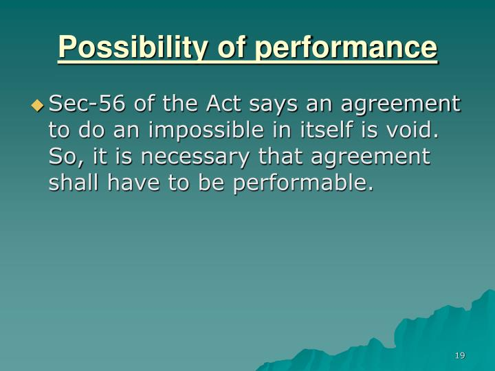 possibility of performance