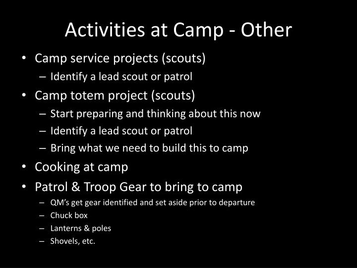 Activities at Camp - Other