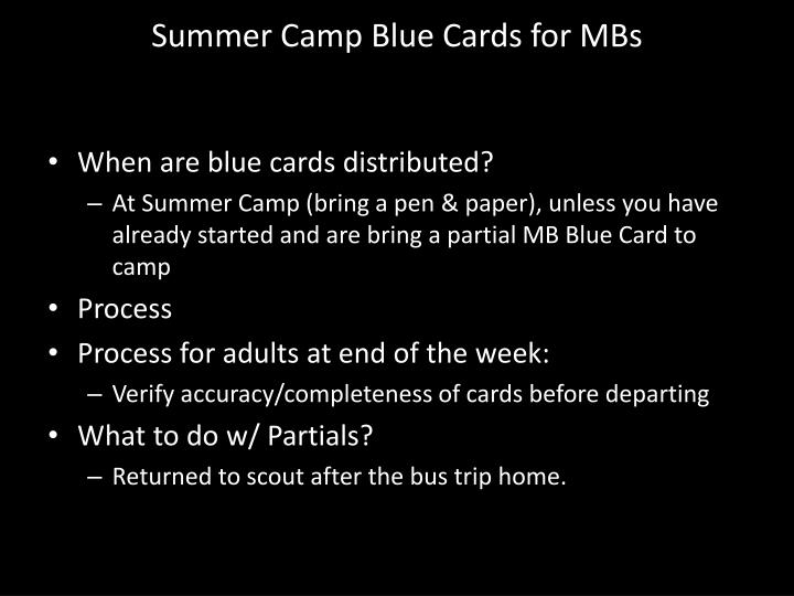 Summer Camp Blue Cards for MBs