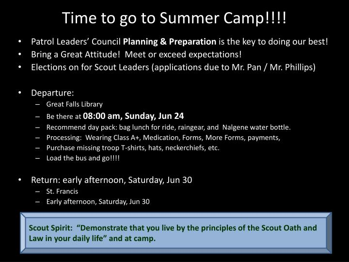 Time to go to Summer Camp!!!!