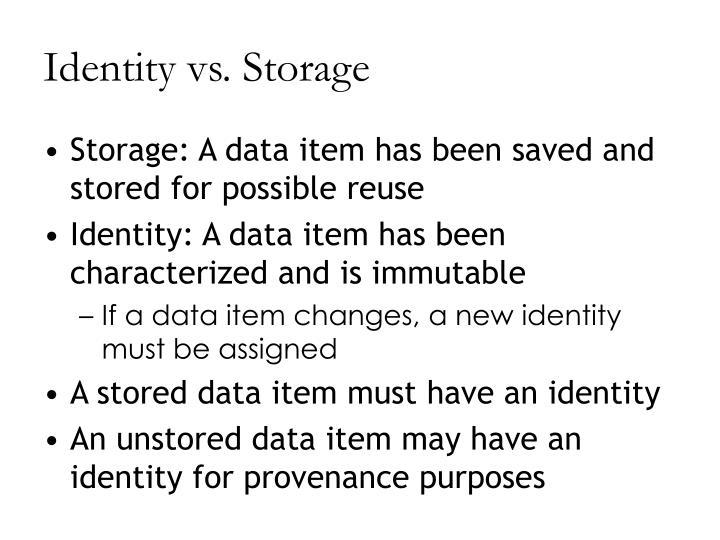 Identity vs. Storage