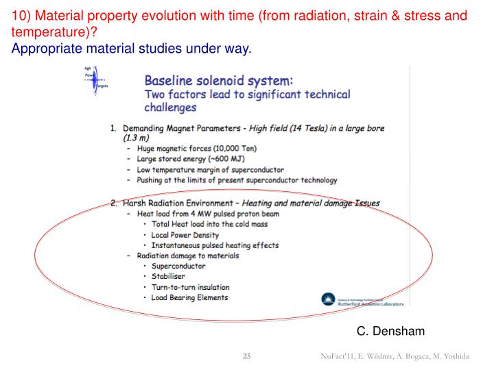 10) Material property evolution with time (from radiation, strain & stress and temperature)?