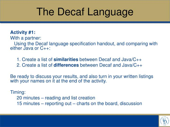 The decaf language
