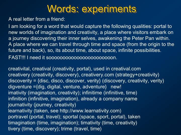 Words: experiments