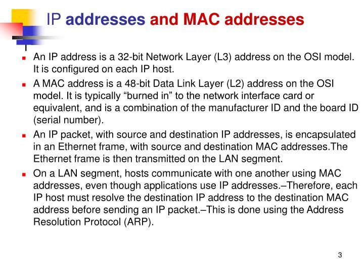 Ip addresses and mac addresses