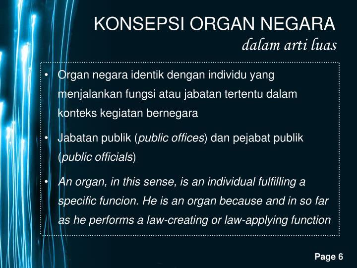 Organ negara identik dengan individu yang menjalankan fungsi atau jabatan tertentu dalam konteks kegiatan bernegara