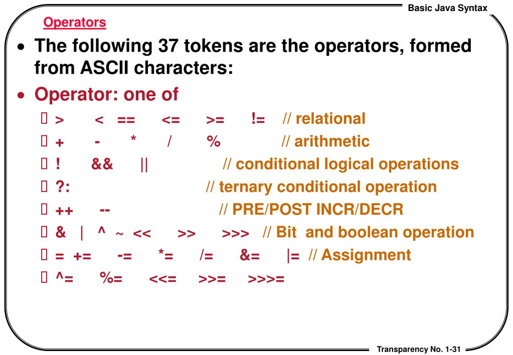 PPT - Lecture 2  Basic Java Syntax PowerPoint Presentation