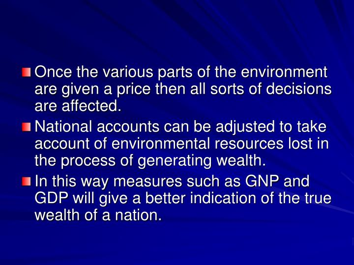 Once the various parts of the environment are given a price then all sorts of decisions are affected.