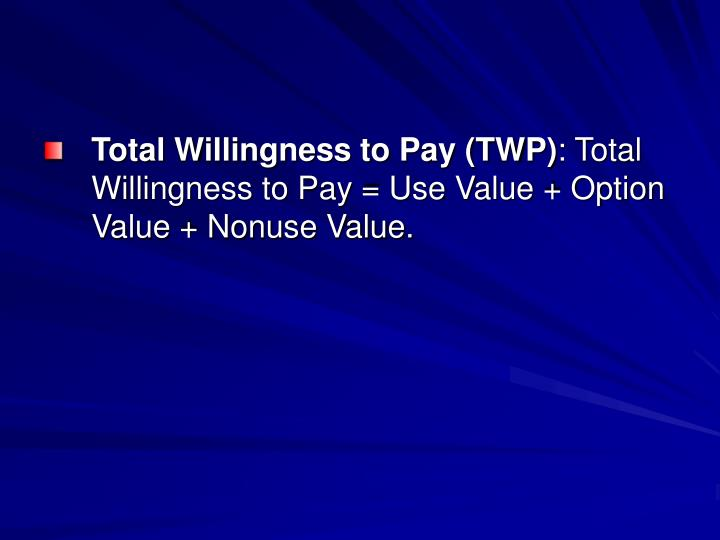 Total Willingness to Pay (TWP)