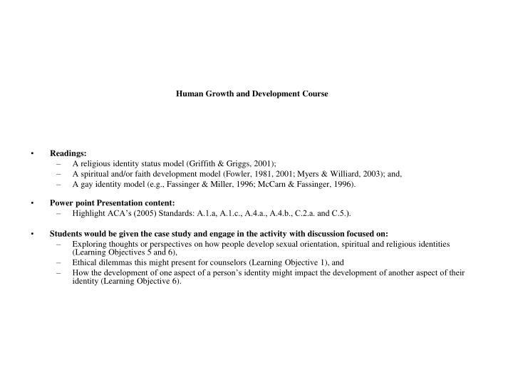 Human Growth and Development Course