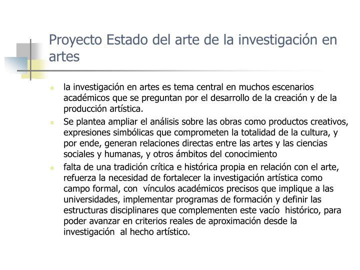 Proyecto estado del arte de la investigaci n en artes