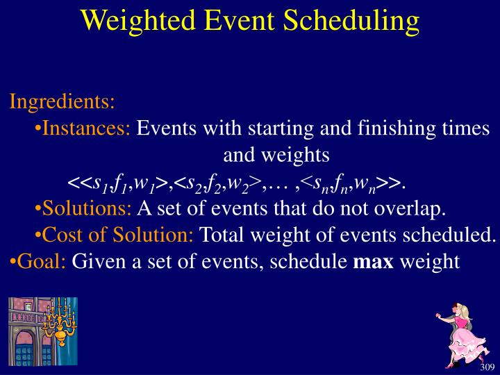 Weighted Event Scheduling