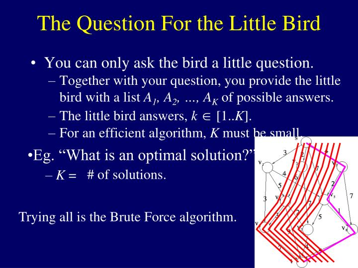 "Eg. ""What is an optimal solution?"""