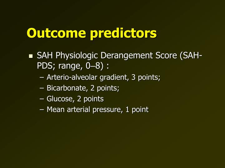 Outcome predictors
