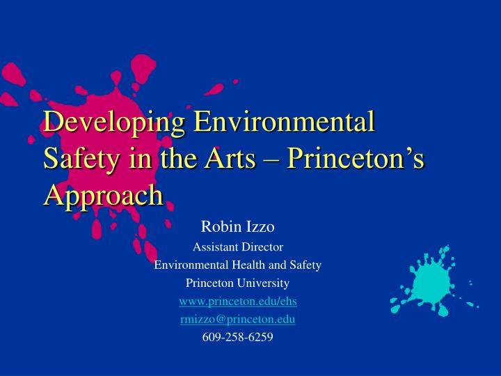 developing environmental safety in the arts princeton s approach n.