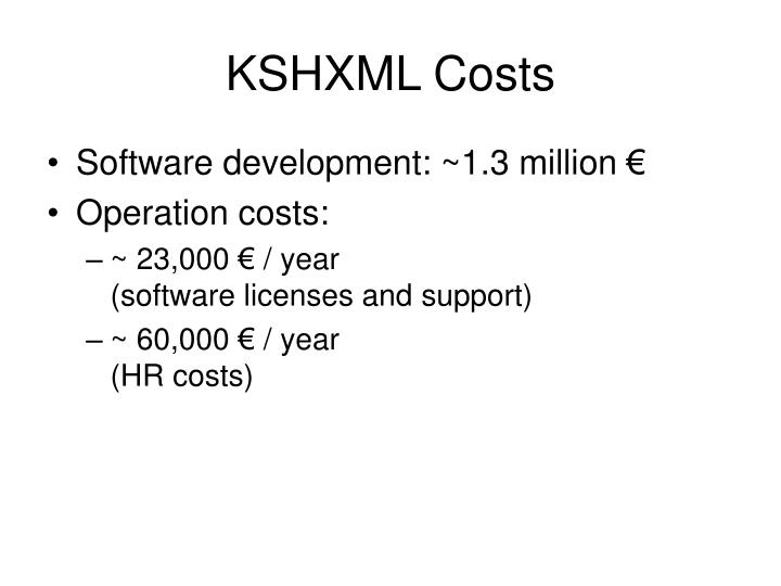 KSHXML Costs