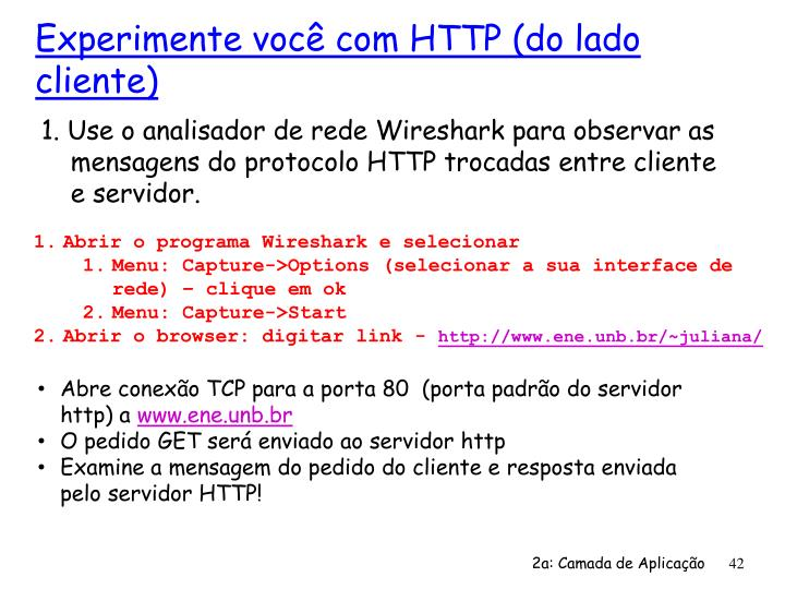 1. Use o analisador de rede Wireshark para observar as mensagens do protocolo HTTP trocadas entre cliente e servidor.