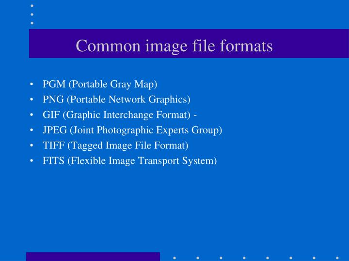Common image file formats