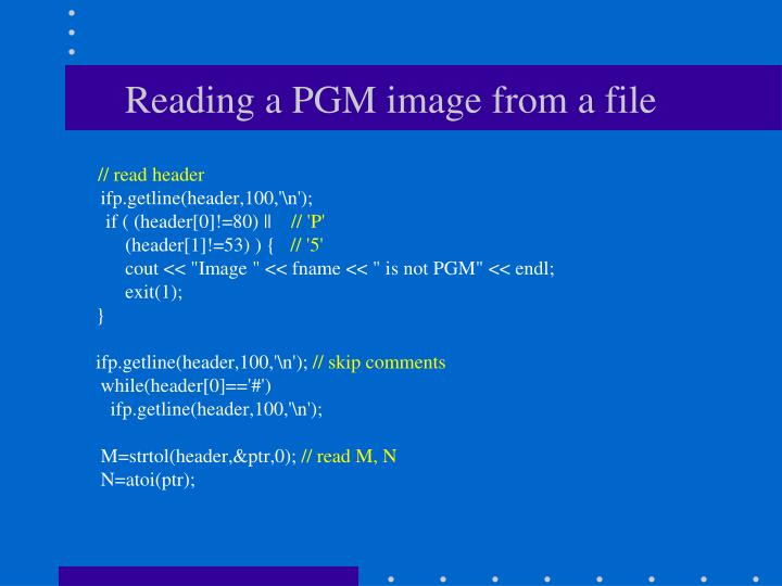 Reading a PGM image from a file