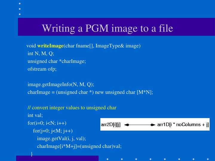 Writing a PGM image to a file