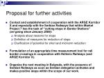 proposal for further activities