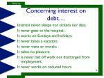 concerning interest on debt