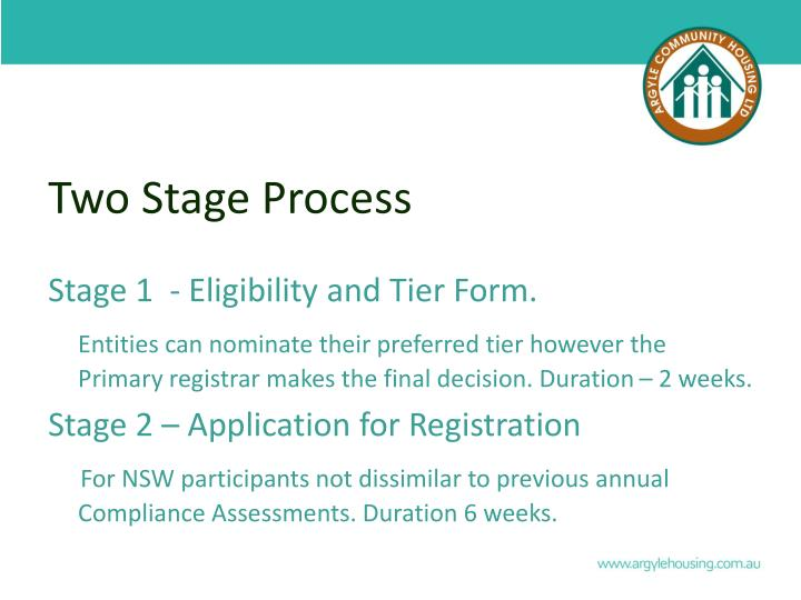 Two stage process