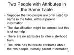 two people with attributes in the same table