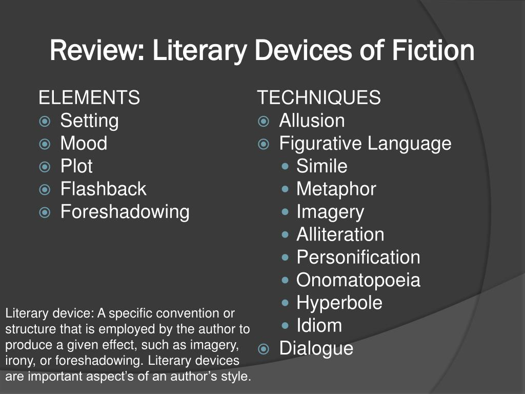 PPT - Literary Devices (elements and Techniques) of fiction