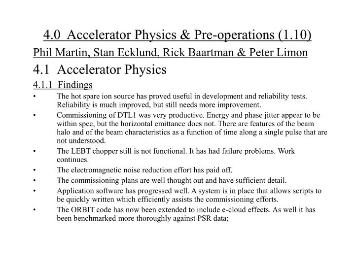 4 0 accelerator physics pre operations 1 10