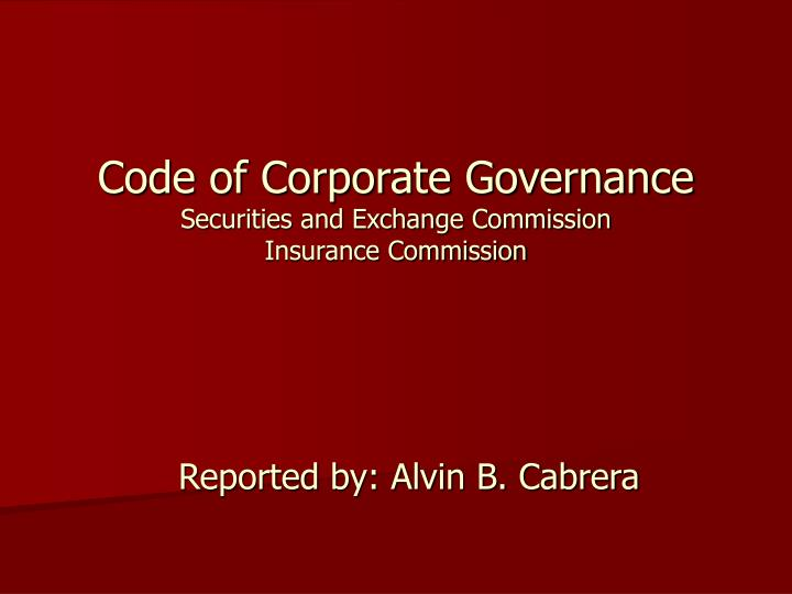 code of corporate governance securities and exchange commission insurance commission n.