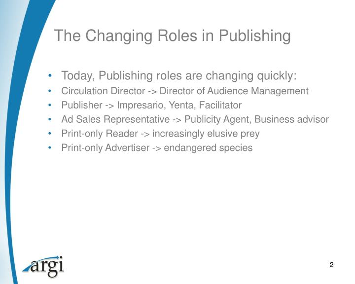 The Changing Roles in Publishing