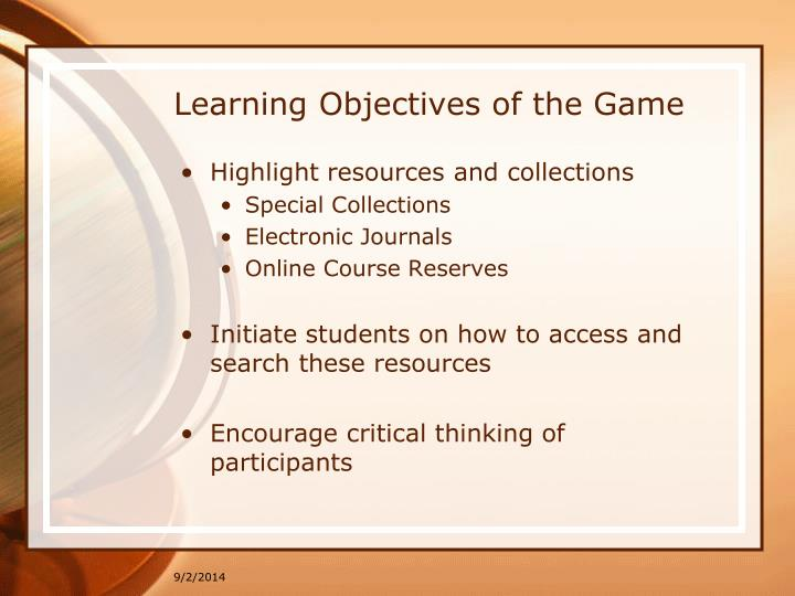 Learning Objectives of the Game