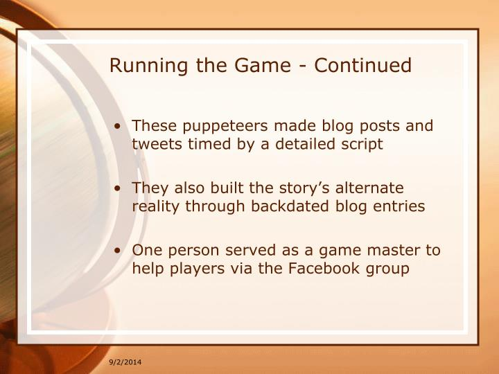 Running the Game - Continued
