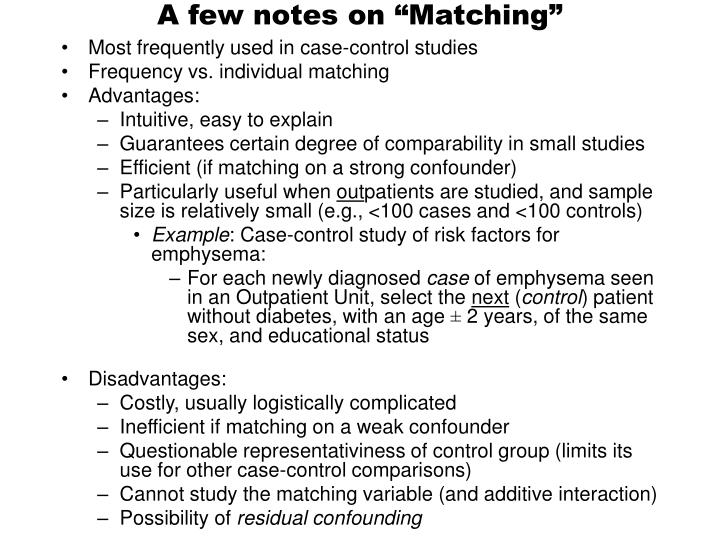 """A few notes on """"Matching"""""""