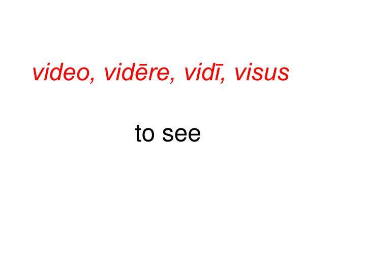 video, vidēre, vidī, visus