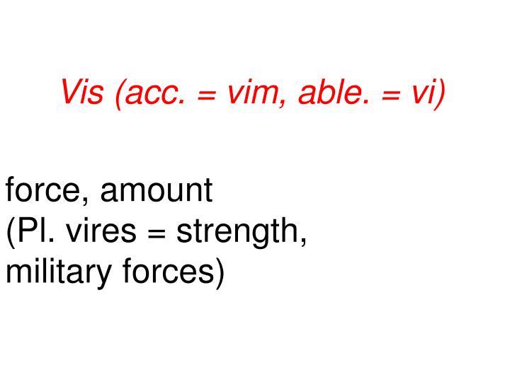Vis (acc. = vim, able. = vi)