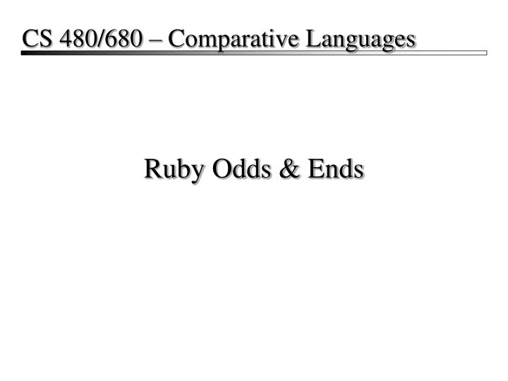 Ruby odds ends