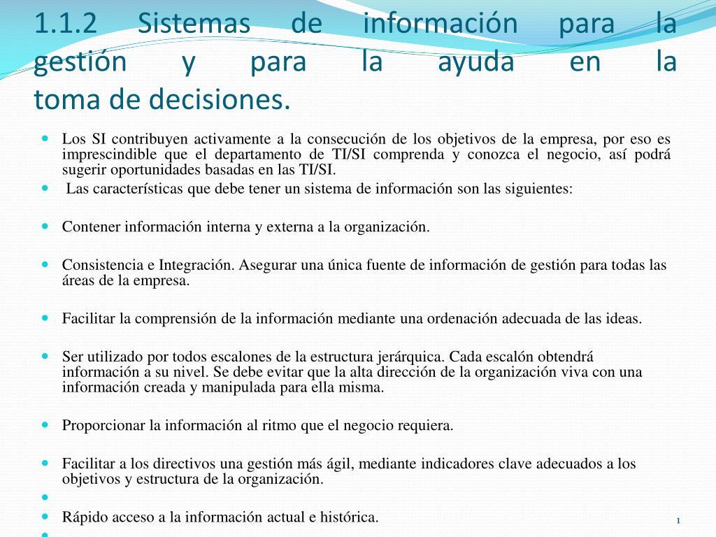 Ppt 1 1 2 Sistemas De Información Para La Gestión Y Para